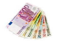 Euro banknotes from five up to five hundred. Isolated on white Stock Image