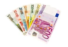 Euro banknotes from five up to five hundred. Isolated on white Stock Photography