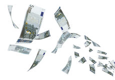5 Euro banknotes flying. 3d render Fly Five euro banknotes close-up (isolated on white and clipping path royalty free illustration