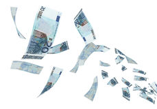 20 euro banknotes Flying. 3d render Fly Twenty Euro banknotes close-up (isolated on white and clipping path Stock Image