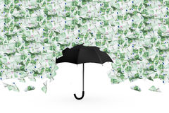 Euro Banknotes Flying and Falling Down on Umbrella Royalty Free Stock Image