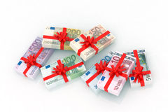 Euro banknotes gift. 3d illustration Stock Photos