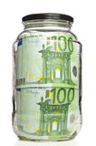Euro banknotes in glass jar Royalty Free Stock Image