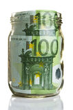 Euro banknotes in glass jar Royalty Free Stock Photo