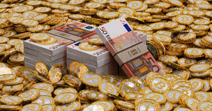 Euro banknotes and golden Bitcoins Royalty Free Stock Image