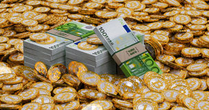 Euro banknotes and golden Bitcoins Stock Images