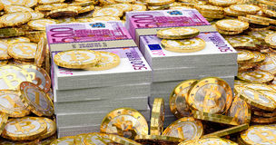 Euro banknotes and golden Bitcoins Stock Photography