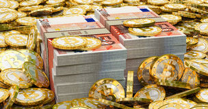 Euro banknotes and golden Bitcoins Royalty Free Stock Images
