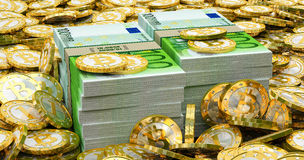 Euro banknotes and golden Bitcoins Royalty Free Stock Photography
