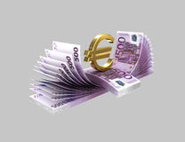 Euro banknotes 27. Euro banknotes and golden euro sign on a gray background Stock Photography
