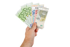 Euro banknotes in hand closeup Royalty Free Stock Photo