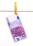500 Euro banknotes hanging on clothesline Royalty Free Stock Photos
