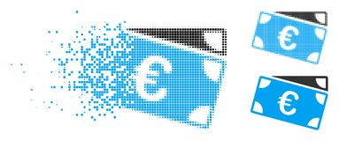 Fragmented Dot Halftone Euro Banknotes Icon. Euro banknotes icon in dispersed, dotted halftone and entire variants. Pieces are grouped into vector dissolving Royalty Free Illustration