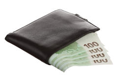 Euro Banknotes In Black Leather Wallet Stock Images