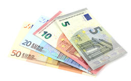 Euro banknotes isolated over white with clipping path. Royalty Free Stock Photography