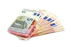 Euro banknotes isolated over white with clipping path. Royalty Free Stock Photo