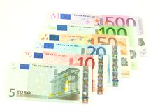 Euro banknotes, isolated on white Royalty Free Stock Images