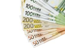 Euro banknotes isolated on white background. Concept photo of money, banking ,currency and foreign exchange rates.Lot pf Copy space Stock Image