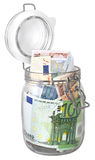 Euro banknotes in jar Royalty Free Stock Photos