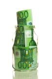 Euro banknotes in jar Royalty Free Stock Photography