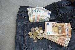 Euro banknotes in the jeans packet Stock Image