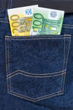Euro banknotes in jeans pocket Royalty Free Stock Images