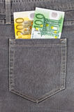 Euro banknotes in jeans pocket Royalty Free Stock Photography
