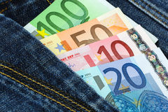 Euro banknotes in jeans pocket Stock Photo