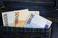 Euro banknotes in jeans pocket Royalty Free Stock Photos