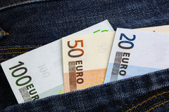 Euro banknotes in jeans pocket Royalty Free Stock Photo