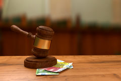 Euro  banknotes and judge's gavel Stock Images