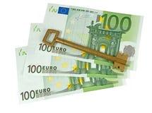 Euro banknotes and key Royalty Free Stock Photo