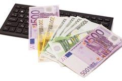 Euro banknotes on keyboard Royalty Free Stock Photo