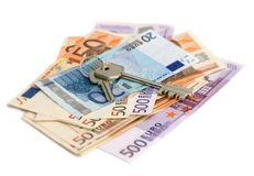 Euro banknotes with keys stock images