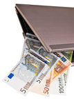 Euro banknotes and laptop. Stock Image