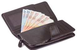 Euro banknotes in leather purse Royalty Free Stock Image