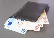 Euro banknotes in leather purse Stock Image
