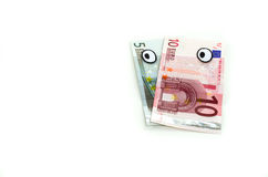 Euro banknotes looking left. Royalty Free Stock Photos