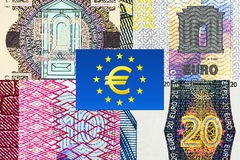 Euro banknotes macro fragments. Fifty, twenty, ten and five Euro banknotes macro fragments with euro currency symbol Stock Images