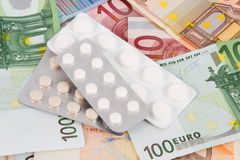Euro banknotes with medicines. A lot of different Euro banknotes with medicines Royalty Free Stock Photography