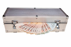 Euro banknotes in metal safe box. Stock Photos