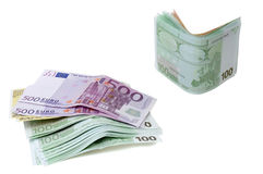 Euro banknotes money. Isolated on white Stock Photography