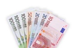 Euro banknotes money background. Isolated on white Royalty Free Stock Image