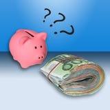 Euro banknotes and money box Royalty Free Stock Image
