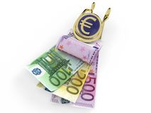 Euro banknotes in money clip Stock Photography