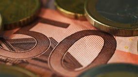 50 Euro Banknotes. Money and euro coins stock video