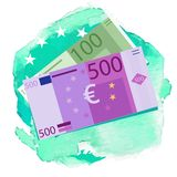 Euro banknotes. Money coins. Simple, flat style. Graphic  illustration. Euro banknotes. Money coins. Simple,watercolor background Graphic  illustration Stock Photography