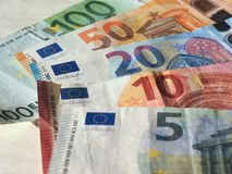 Euro notes, European Union. Euro banknotes money (EUR), currency of European Union, full range including five, ten, twenty, fifty and one hundred euros Stock Images