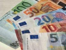Euro notes, European Union. Euro banknotes money (EUR), currency of European Union, full range including five, ten, twenty, fifty and one hundred euros Stock Photos