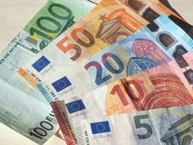 Euro notes, European Union. Euro banknotes money (EUR), currency of European Union, full range including five, ten, twenty, fifty and one hundred euros Royalty Free Stock Image